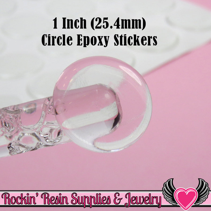 1 inch Circle 25mm Bottlecap Clear Epoxy Resin Dome Stickers (100 pieces) - Rockin Resin  - 1