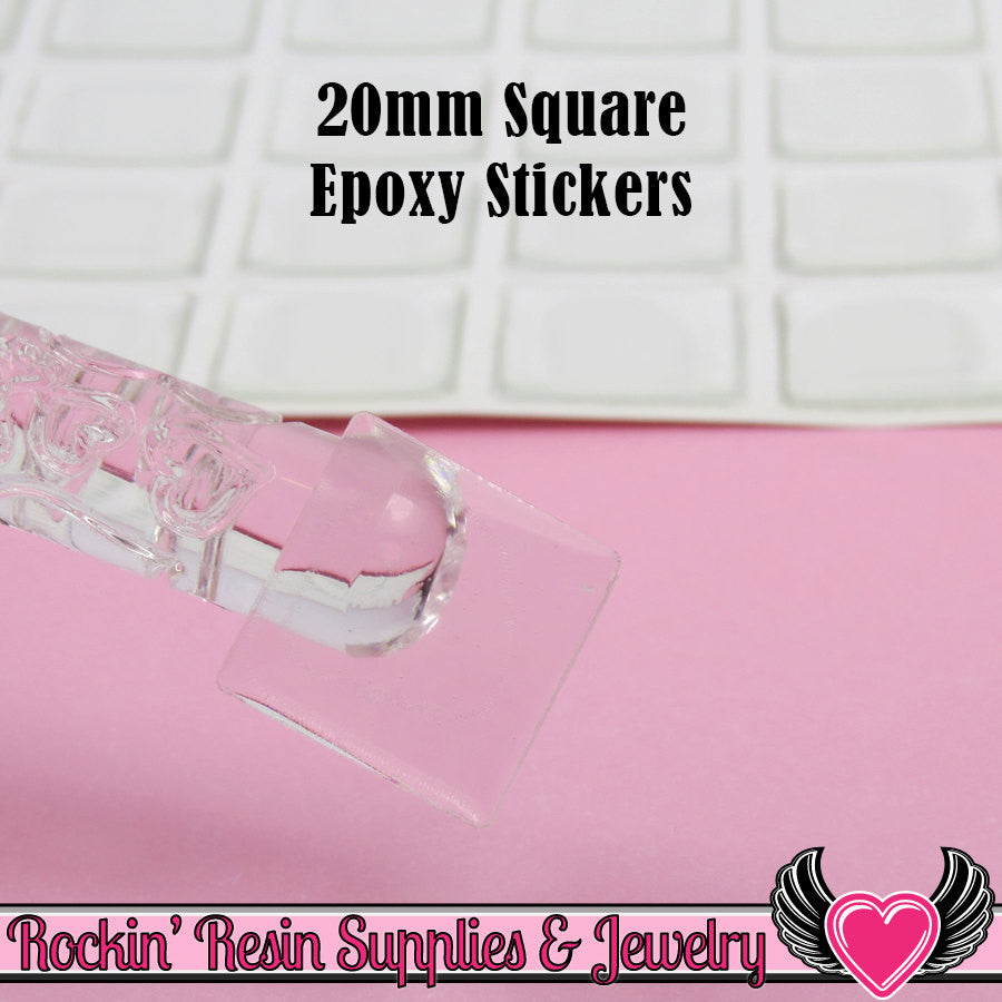 20mm Square Clear Epoxy Resin Dome Stickers (100 pieces)