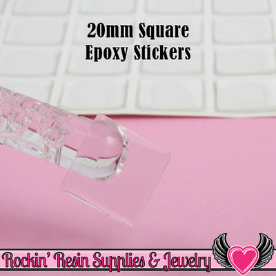 20mm Square Clear Epoxy Resin Dome Stickers (100 pieces) - Rockin Resin