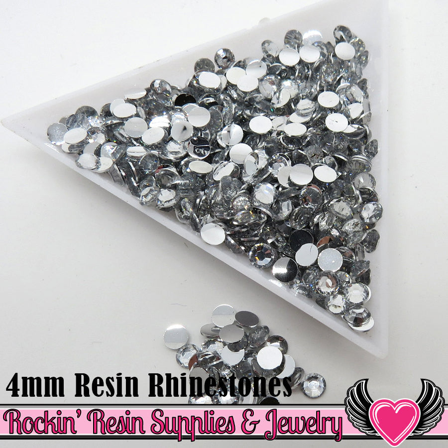 4mm 1000 pc Clear Mirror Flatback Resin Rhinestones (RR16) - Rockin Resin  - 1