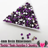 4mm 1000 pc Dark Purple Flatback Resin Rhinestones (RR17) - Rockin Resin