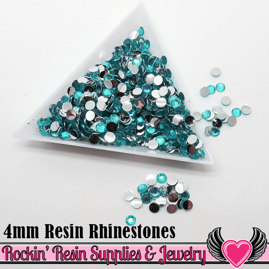 4mm 1000 pc Aqua Blue Flatback Resin Rhinestones (RR3) - Rockin Resin