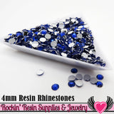 4mm 1000 pc Dark Blue Flatback Resin Rhinestones (RR15) - Rockin Resin  - 2