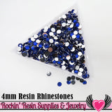 4mm 1000 pc Dark Blue Flatback Resin Rhinestones (RR15) - Rockin Resin  - 1