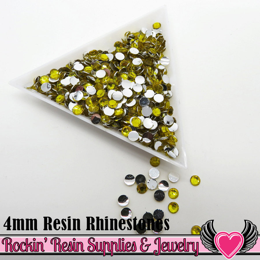 4mm 1000 pc Bright Yellow Flatback Resin Rhinestones (RR13) - Rockin Resin