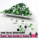 4mm 1000 pc Green Flatback Resin Rhinestones (RR1) - Rockin Resin