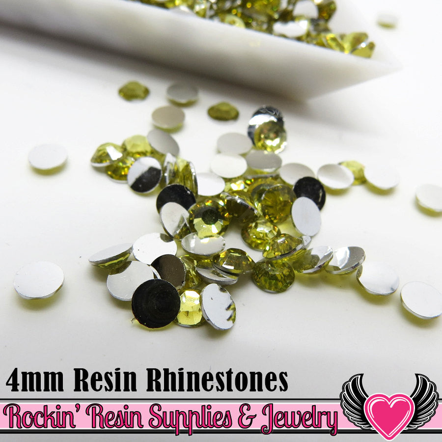 4mm 1000 pc Yellow Flatback Resin Rhinestones (RR7) - Rockin Resin  - 1
