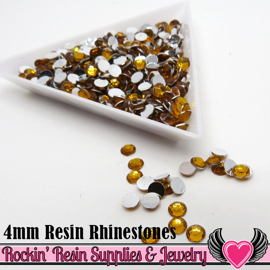 4mm 1000 pc Orange Flatback Resin Rhinestones (RR6) - Rockin Resin