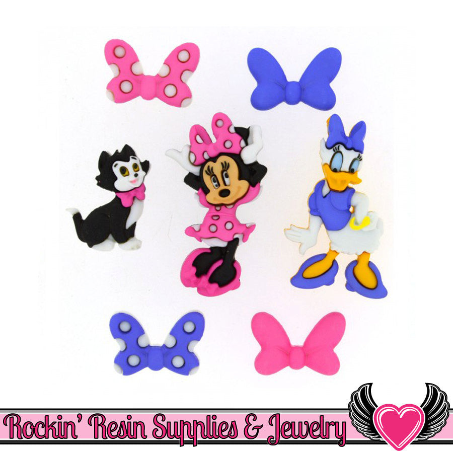 Disney MINNIE BOWTIQUE Minnie Mouse & Daisy Duck Buttons Or Turn them into Flatback Cabochons