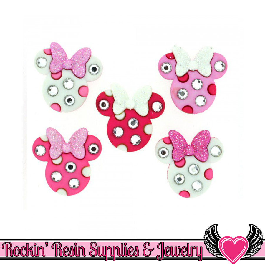 Disney MINNIE RHINESTONE HEADS licensed Jesse James Buttons Or Turn them into Flatback Cabochons