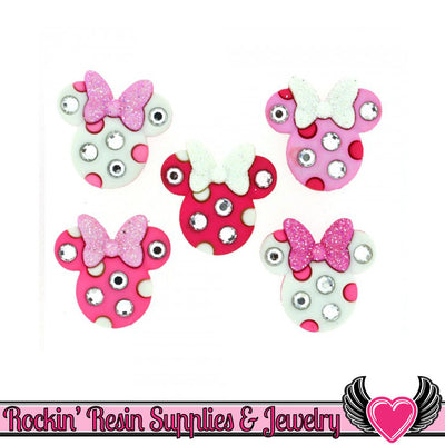 Disney MINNIE RHINESTONE HEADS licensed Jesse James Buttons Or Turn them into Flatback Cabochons - Rockin Resin  - 1