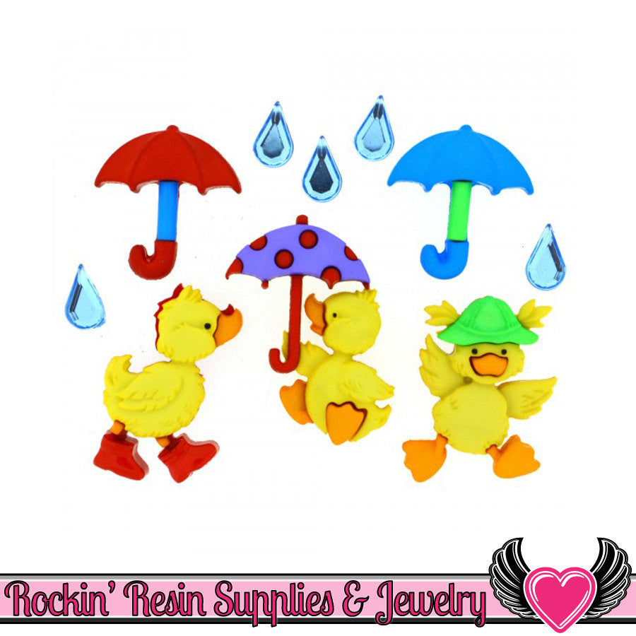 Jesse James Buttons 10 pc PUDDLE JUMPERS Duck & Umbrella Buttons OR Turn them Into Flatback Cabochons - Rockin Resin  - 1