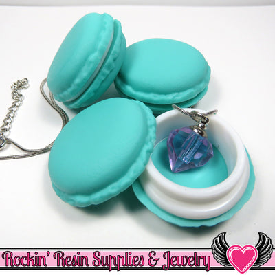 Teal French Macaron Jewelry Gift Box or Cabochon - Rockin Resin  - 1