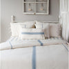 Colonial Blue-Cream Grain Sack Solid Duvet Cover (tie closure)