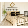 Grain Sack Stripe Oat - Black Queen Duvet Cover