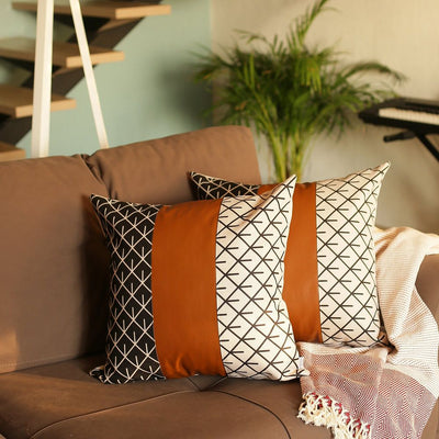 "Decorative Brown Vegan Faux Leather Square 17"" Throw Pillow Cover (Set of 2)"