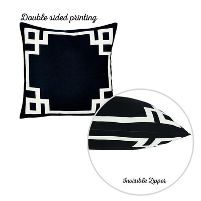 Geometric Black&White Square Decorative Throw Pillow Cover