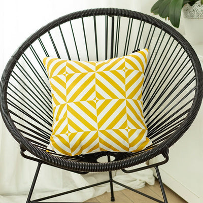 "Geometric Yellow Diagram Square 18"" Throw Pillow Cover"