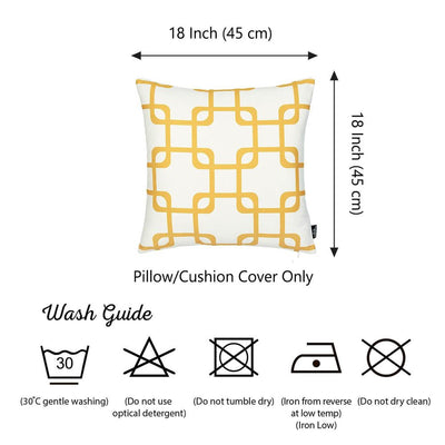 "Geometric Yellow Squares Square 18"" Throw Pillow Cover"