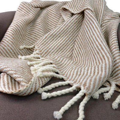 Chunky Camel Stripe Alpaca Throw