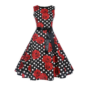 Robe a Pois Rose Rouge