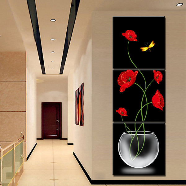 Tableau 3 piece Coquelicot Rouge