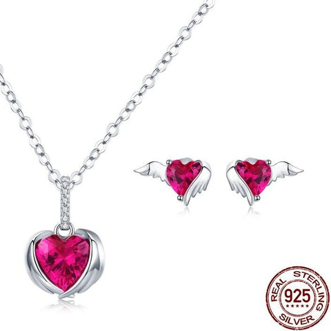 Conjunto Colar + Brincos Red Love Heart   - Prata 925