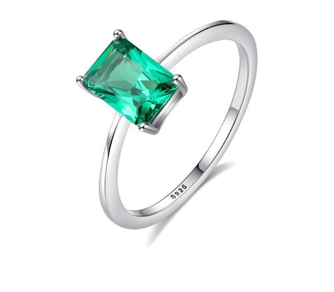 Anel Fashion Luxury Big Emerald  - Prata 925