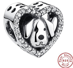 Separador charm  Dog Love Heart - Prata 925