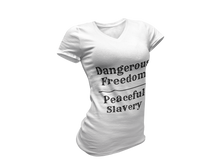 Load image into Gallery viewer, Ladies Dangerous Freedom V-Neck T-Shirt
