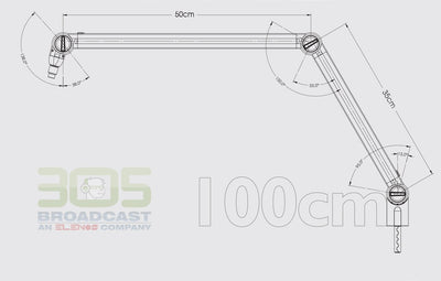 MICROPHONE ARM WITH ON AIR LIGHT - COLOR GREY - IDEAL FOR BROADCASTERS AND POD-CASTERS - 305broadcast