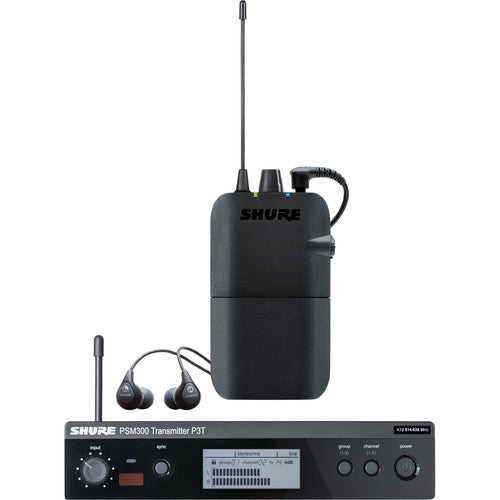 Shure P3TR112GR PSM300 Wireless Stereo Personal Monitor System with SE112-GR Earphones, G20 - 305broadcast
