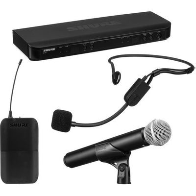 Shure BLX1288/P31 Dual Channel Combo Wireless System with PG58 Handheld and PGA31 Headset Microphones, H9
