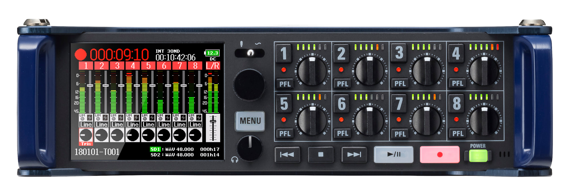 Zoom F8n Professional Field Recorder/Mixer, Audio for Video, 24-bit/192 kHz Recording, 10 Channel Recorder, 8 XLR/TRS Inputs, Timecode, Ambisonics Mode, Battery Powered, Dual SD Card Slots - 305broadcast