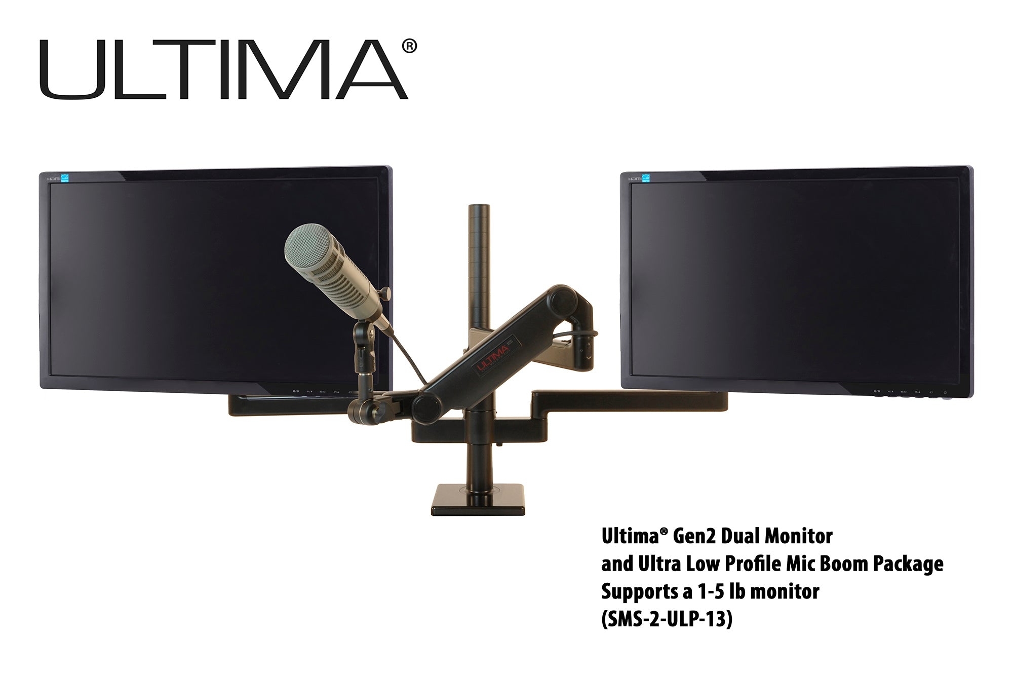 OC White SMS-2-ULP-13 & SMS-LD-2-ULP-13 Series ProBoom® Ultima® Gen2 Dual Monitor and Mic Boom SMS Package - 305broadcast
