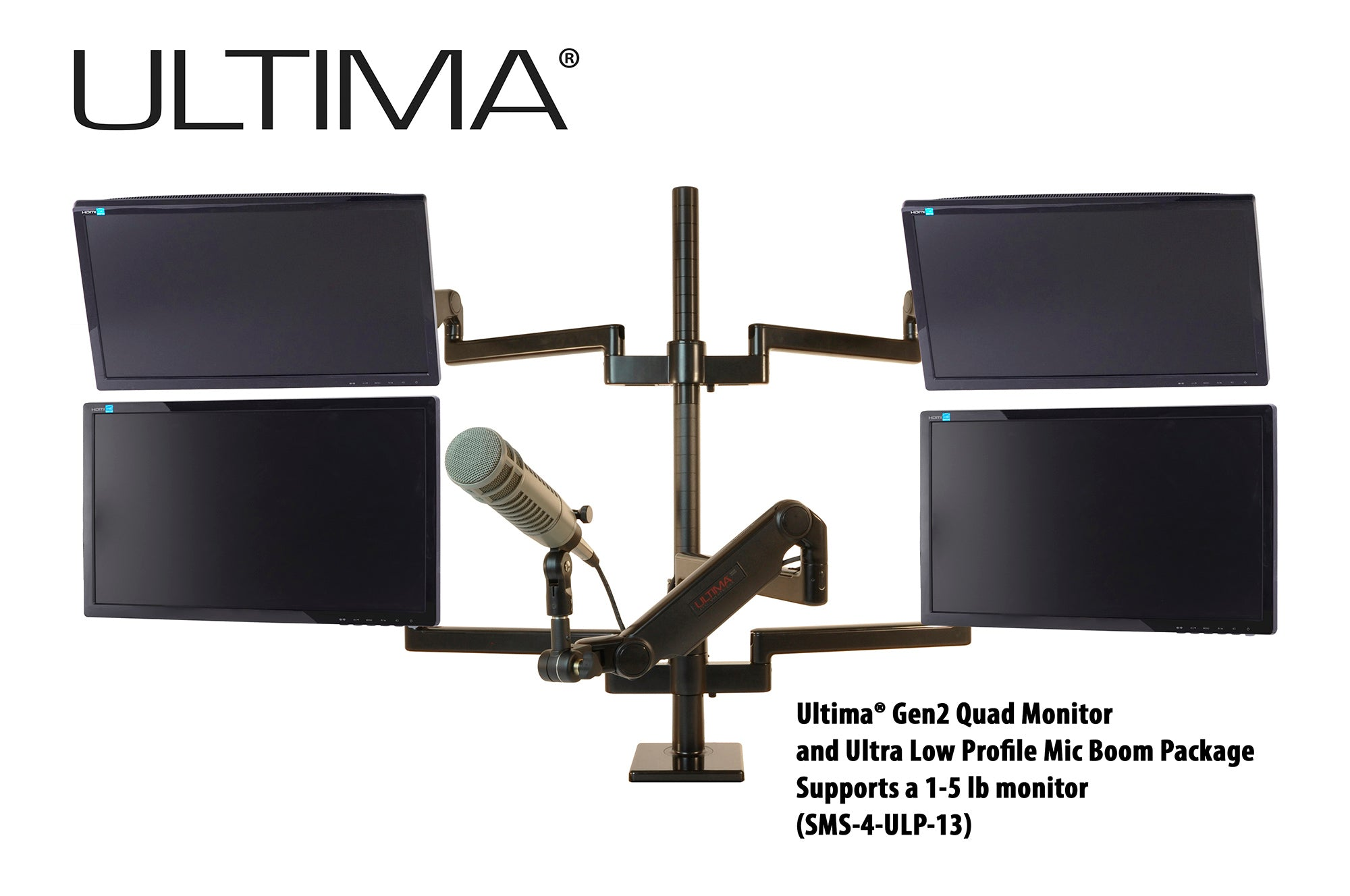 OC White SMS-4-ULP-13 & SMS-LD-4-ULP-13 Series ProBoom® Ultima® Gen2 Quad Monitor and Single Low Profile Mic Boom SMS Package - 305broadcast