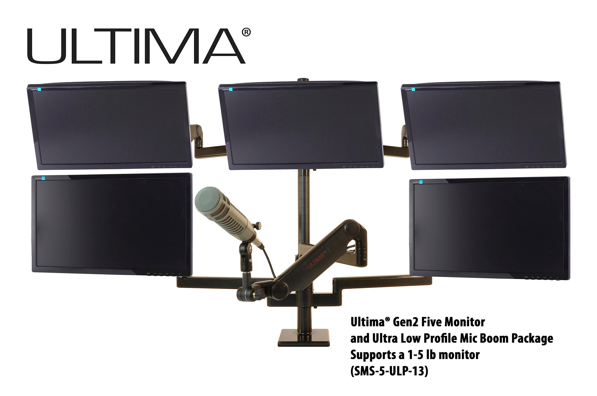 OC White SMS-5-ULP-13 & SMS-LD-5-ULP-13 Series ProBoom® Ultima® Gen2 Five Monitors and Low Profile Mic Boom SMS Package - 305broadcast