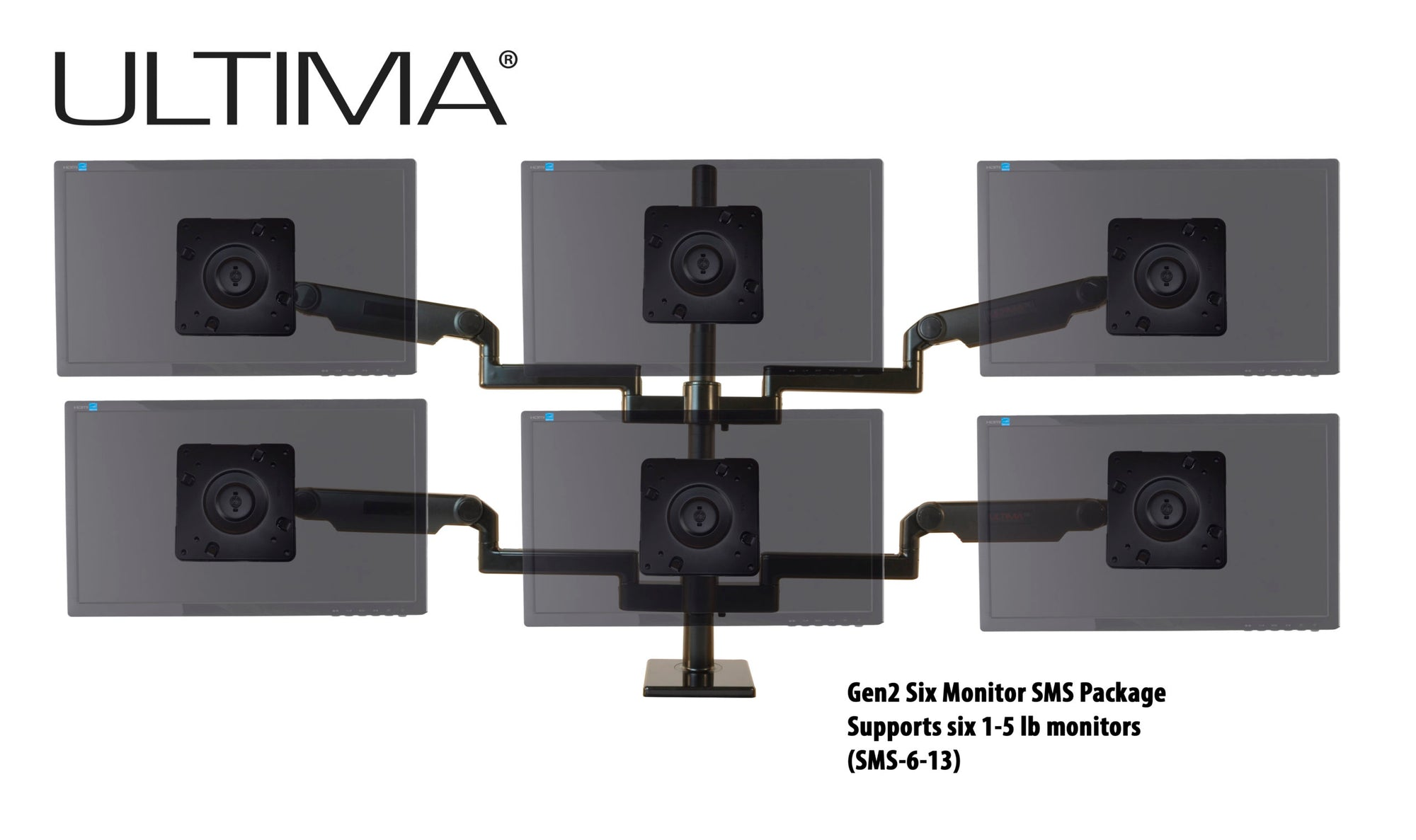 OC White SMS-6-13 & SMS-LD-6-13 Series ProBoom® Ultima® Gen2 Six Monitors SMS Package - 305broadcast
