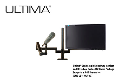 OC White SMS-1-ULP-13 & SMS-LD-1-ULP-13 Series ProBoom® Ultima® Gen2 Single Monitor and Low Profile Mic Boom Package - 305broadcast