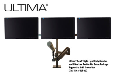 OC White SMS-3-ULP-13 & SMS-LD-3-ULP-13 Series ProBoom® Ultima® Gen2 Triple Monitor and Mic Boom SMS Package - 305broadcast