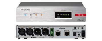 Tascam AE-4D - 4 Channel AES/EBU Input/Output Dante Converter with built-in DSP Mixer - 305broadcast