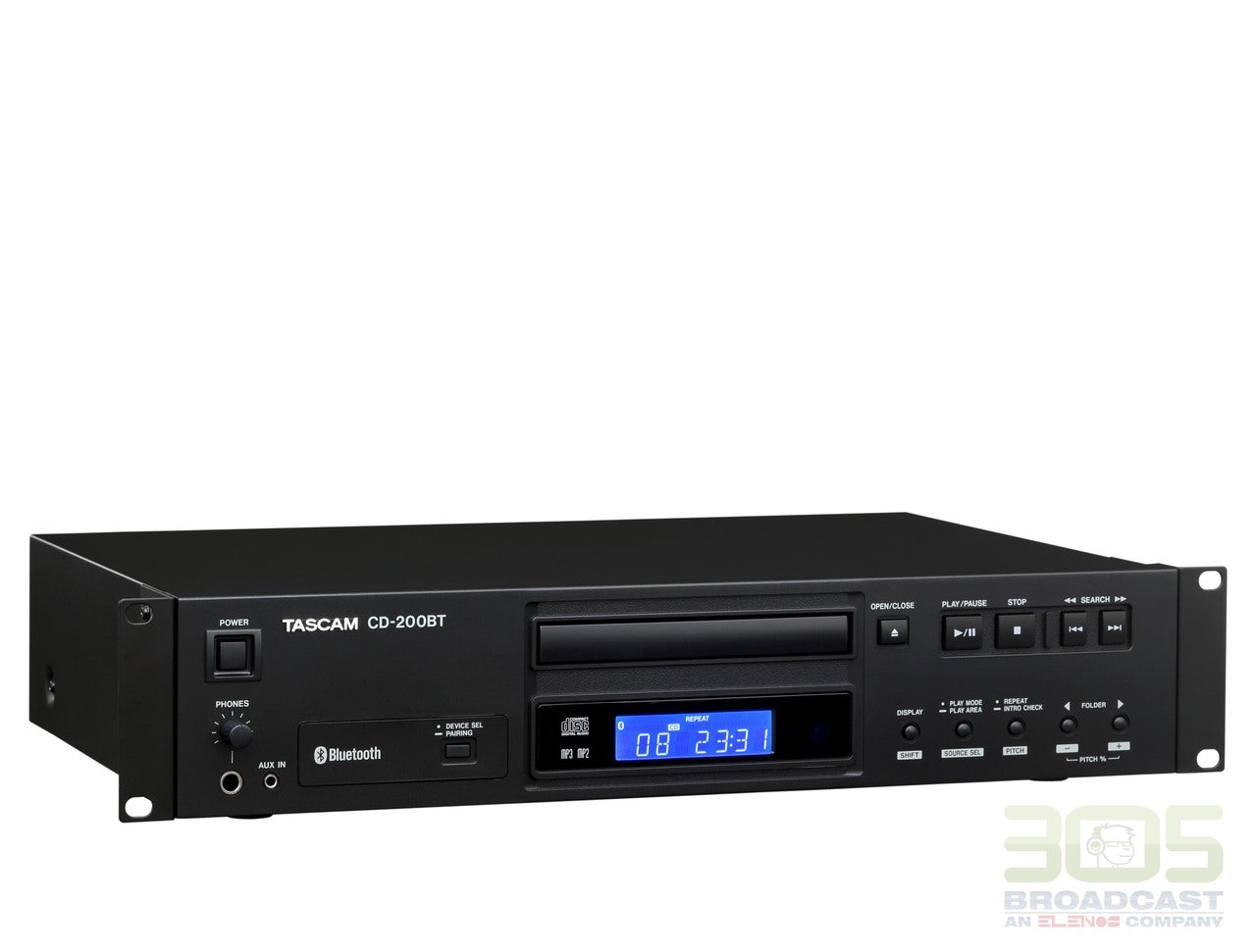 Tascam CD-200BT -  Professional CD Player with Bluetooth Receiver - 305broadcast