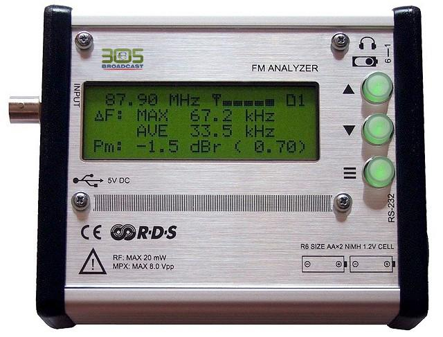 FM Broadcast Analyzers Stand-alone DSP based solution for FM broadcast analysis. Provides complete FM modulation and basic AF spectrum measurements - Band Scanner - 305broadcast