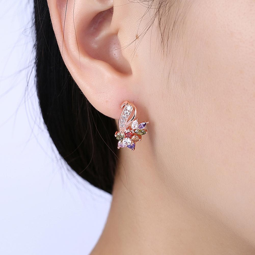 Mona Lisa Rainbow Stud Earring in 18K Rose Gold Plated