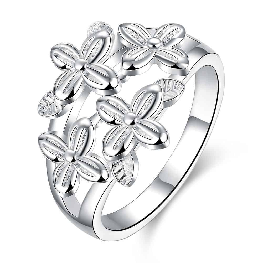 Silver Plating Multi Floral Daisy Dome Ring