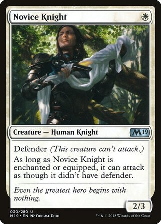Novice Knight [Core Set 2019] | The Garage: Games & Geekery