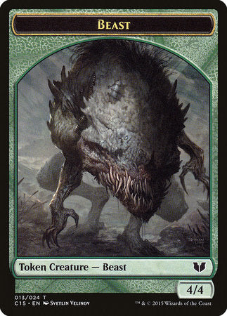 Beast // Snake (Green) Double-Sided Token [Commander 2015 Tokens] | The Garage: Games & Geekery
