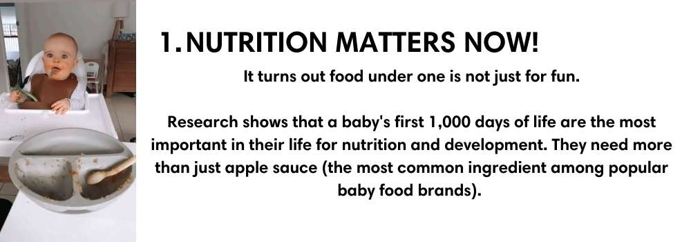 NUTRITION MATTERS NOW! It turns out food under one is not just for fun.  Research shows that a baby's first 1,000 days of life are the most important in their life for nutrition and development. They need more than just apple sauce (the most common ingredient among popular baby food brands).