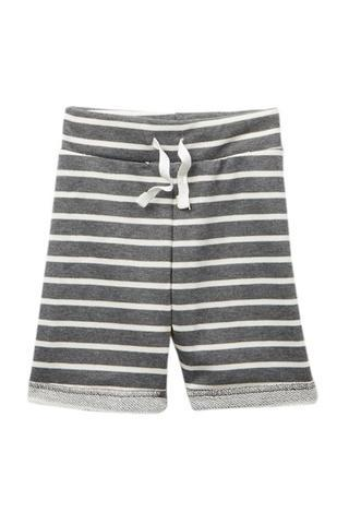 Gray and White Striped Terry Shorts