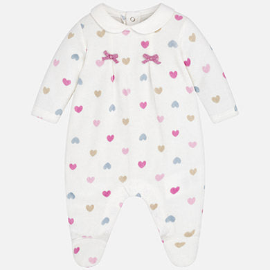 Pink Heart Print Velour Footie